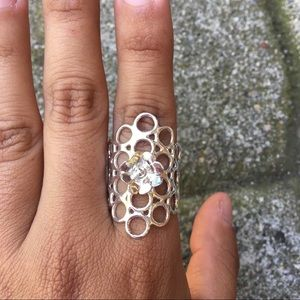 Peruvian Silver Flower and Bubbles Ring